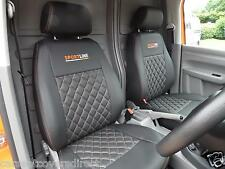 VW Caddy Van Tailored Seat Covers - Black With Diamonds & Logos Genuine Fit