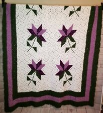 Beautiful Purple Flower Afghan Blanket Throw Granny Chic Shabby  60 x 74 OOAK