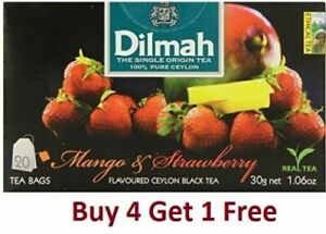 Dilmah Mango and Strawberry Flavoured Ceylon 20 Tea Bags (30g 1.06 Oz)