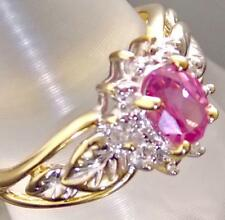10K TWO TONE  GOLD OVAL-SHAPE AAA PINK TOPAZ & DIAMOND SOLITAIRE RING SIZE 7