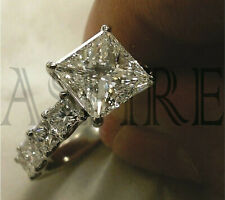 4.15ct Princess cut Moissanite Engagement Ring D/SI 1 Solid 14k White Gold