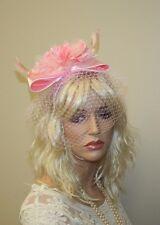 Light Pink Feather Fascinator with Birdcage Veil, Headband, Wedding Accessories
