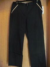 Jaclyn Smith Womans Black Dress Pants With Tan Accent ~ Size 6 New
