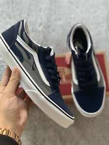 Vans Old Skool navy blue And grey Flame - Size 6