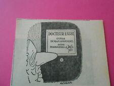Caricature 1970  Docteur Faust cures de rajeunissement soins remboursés à 70%