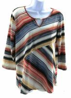 Coco's Clozet Top Medium Women's Multi Color Stripes 3/4 Sleeve Keyhole Neckline
