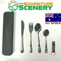 5 Pcs Stainless Steel Travel Cutlery Set Knife Fork Spoon Utensil Camping Hiking