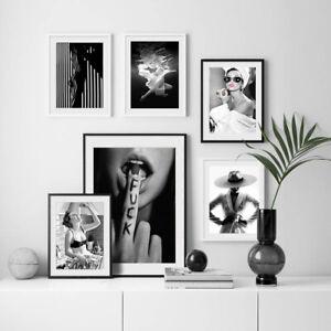 Black White Fashion Sexy Female Cavnas Poster Wall Art Print Living Room Decor