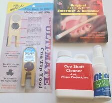 Complete Pool Cue Care Maintenance Kit For Pool & Billiard Shafts & Tips Cleaner