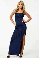 BNWT * Lipsy *14(UK)Navy Bandeau Maxi Dress,Embellished ,Prom Party,£65, Slim