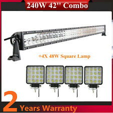 42'' 240W LED Light Bar +4x4 48W Combo Offroad UTE Wrangler Trailer Ford 12W/24W