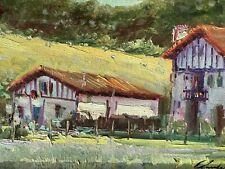 Magnifique Tableau peinture Par Claude Moriset  Paysage Maison Pays Basque XXe
