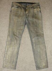 Looks New Womens David Khan Jeans 30 Gold Nikki Skinny Radioactive Coated Denim