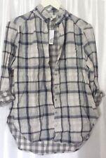 Lou & Grey by LOFT Gray Plaid Cotton Buttoned Tunic Shirt Size  S ,XS  $59.50