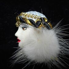 vintage elegant lady face pin with fur FLAPPER 1970s