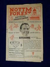 More details for nottingham forest v luton town ld2 programme. 2nd september 1953