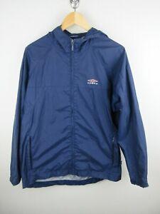 Umbro Mens Rain Track Jacket Size S Windbreaker Light Weight Waterproof Blue