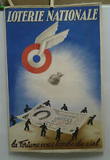 AFFICHE ANCIENNE LOTERIE NATIONALE LA FORTUNE VOUS TOMBE DU CIEL 1936 CHANEL