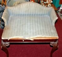 Antique Victorian Vanity Bench Wood Legs Striped Fabric Cushion Small Size