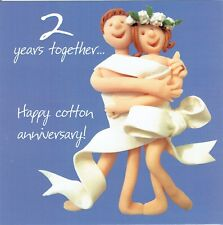 2nd Wedding Anniversary Card From the One Lump or Two Collection Cotton annivers