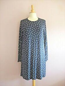M&S Size 16 Navy Blue + Cream Spot Print Stretch Jersey Short Tunic Dress NEW