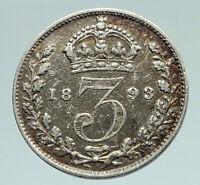 1893 UK Great Britain United Kingdom QUEEN VICTORIA 3 Pence Silver Coin i76662