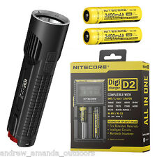Nitecore EC4S 2150Lm Flashlight XHP50  w/2x NL189 18650 Batteries & D2 Charger