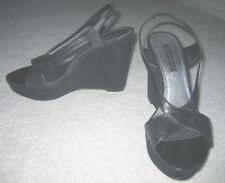 Womens Vintage Nine West Black Slingback Wedge Sandals leather shoes Size 6.5