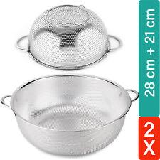 Abtropfsieb Seiher 2tlg Set Küchen Edelstahl Salat Nudel Pasta Sieb Durchschlag