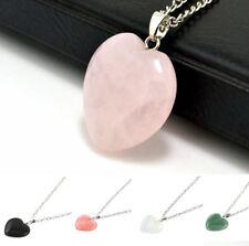 Natural Quartz Heart Chakra Pendant Rock Point Gemstone Healing Stone Necklace C