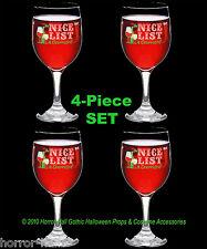 4pc Set-Funny Wine Glasses Goblets-Naughty-Nice List-Christmas Bar Holiday Decor