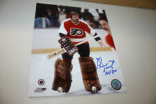 PHILADELPHIA FLYERS BERNIE PARENT SIGNED 8X10 PHOTO HOF 1986 POSE 1