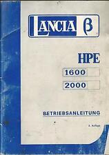 LANCIA BETA HPE 1600 2000 Betriebsanleitung 1976 Bedienungsanleitung Handbuch BA