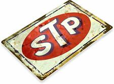 Stp Oil Gas Station Car Service Auto Shop Garage Rustic Metal Sign