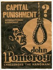 "Vintage Brochure: Man ""Challenges The Hangman"" - Shock Horror Stage Act"
