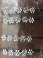 6 Crystal Flower Diamante Barrette Bobby Pins Hair Clip Slide Grip Girls Wedding