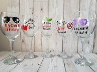 THANK YOU TEACHER END OF YEAR CHRISTMAS UNIQUE NOVELTY GIFT WINE GLASS