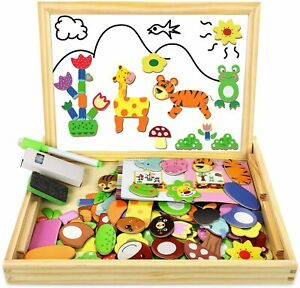 Wooden Magnetic Drawing Board Game Jigsaw Puzzles for Kids Wooden Toys Double 3