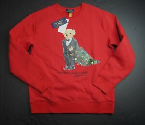POLO RALPH LAUREN Big Boys Tuxedo Bear Fleece Sweatshirt NEW NWT