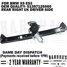 FOR BMW X5 E53 SUV 00>2006 REAR RIGHT DRIVER SIDE WINDOW REGULATOR & 2 PIN MOTOR