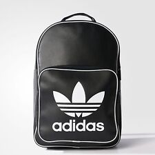 NWT adidas Originals UNISEX FAUX LEATHER CLASSIC BACKPACK SCHOOLBAG BLACK  LAST1