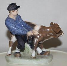 Vintage Figurine Boy & Calf Cow Royal Copenhagen 772