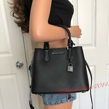 0be1bea0948 NWT MICHAEL KORS ADELE BLACK LEATHER SATCHEL TOTE SHOULDER BAG HANDBAG  MESSENGER
