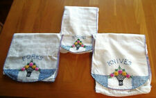 3 Vtg Embroidered Flannel Flatware Storage Pouches--Forks, Spoons, and Knives