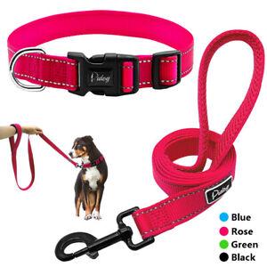 Reflective Nylon Dog Collar Leash Set Small Medium Large Dogs Training Lead Rope