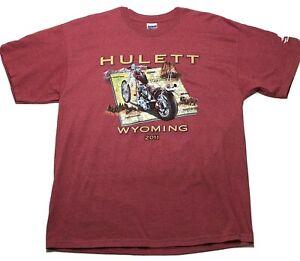 2011 Hulett Wyoming Men's Graphic Biker Rally T-Shirt Gildan XL Muted Red