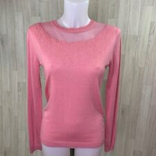 WAREHOUSE • Pink Lace Floral Embroidered Fine Knit Jumper • Size 12