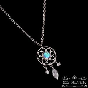 Dream Catcher Necklace 925 Sterling Silver Moon Stone Pendant Crystal Jewellery