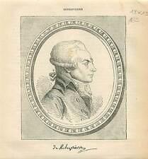 Maximilien de Robespierre FRANCE GRAVURE OLD ANTIQUE PRINT 1873