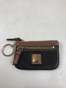 Dooney & Bourke Black Pebbled Leather Classic Logo Canvas Key Ring Zip Change